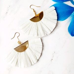 White and Gold Fan Out Drop Earrings